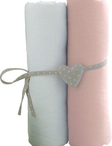 Babycalin-Lot-de-2-draps-housse-BlancRose-70x140-cm-0