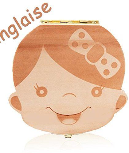 Leisial Boîte Dents de lait pour Bébé Dents de lait Rangement Enregistrer  Cadeaux Boîte en Bois pour Enfants Garçon et Fille Version anglaise - ...