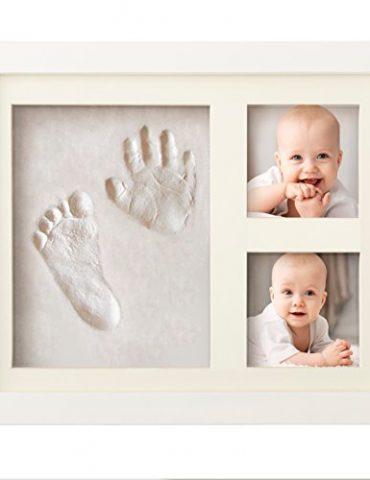 SUPERBE-KIT-DE-MOULAGE-DEMPREINTES-DE-PIEDS-ET-MAINS-POUR-BEBE-pour-Liste-de-naissance-fille-et-garon-Cadeaux-pour-liste-de-naissance-Souvenir-mmorable-Dcorations-murale-ou-pour-table-argile-et-cadres-0