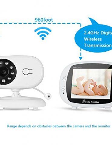 coute-Bb-sans-Fil-Longue-Porte-Vision-Nocturne-Babyphone-avec-Camra-Grand-Angle-Interphone-Bidirectionnel-Batterie-Puissant-Temprature-Dtecte-Berceuse-Intgr-0